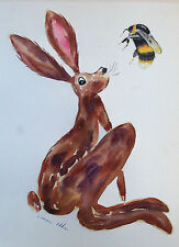 """Fridge Magnet, Hare looking at a Bumble Bee large  4.25"""" by 5.5"""""""