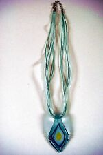 MURANO GLASS NECKLACE TEARDROP SHAPED SILVER BLUE WHITE YELLOW CORD RIBBON