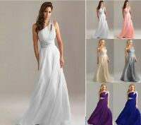 Long Chiffon Evening Formal Party Ball Gown Prom Bridesmaid Dress Size 6 -16