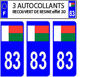 3 stickers plaque immatriculation auto DOMING 3D RESINE DRAPEAU MADAGASCAR 83