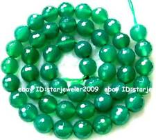 8mm Green Agate Globose Faceted Gemstone Beads15""
