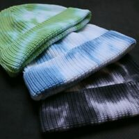 Unisex Retro Beanie Knitted Skull Cap Tiedye Hat Hip Hop Autumn Winter Warm Blue