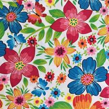 bright colourful flowers pink blue orange floral cotton fabric 1/2 YARD