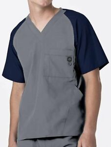 WonderWink Medical Scrubs Men's Pewter Contrast Utility 5 Pocket Top Sz XXL