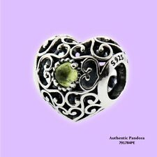 Pandora August Signature Heart Birthstone Charm in 925 Sterling Silver, 791784PE