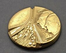 Gorbachev Cossiga Rome 1989 Summit Italy USSR Table Medal Bronze 60 mm Large