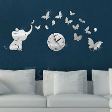 3D DIY Elephants Butterflies Mirror Wall Decal Wall Clock Sticker Art Decoration