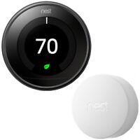 Google Nest Learning Thermostat 3rd Gen Mirror Black Bundle w Temperature Sensor