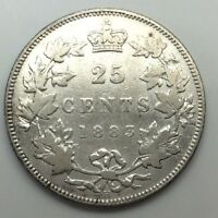 1883 H Canada Twenty Five 25 Cents Quarter 925 Silver Canadian Cleaned Coin D156