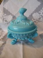 Antique Portieux Vallerysthal Argonaut Dolphin Feet Lidded Candy Dish