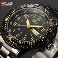 Shark Army Men's Date Black Stainless Steel Sport Quartz Military Wrist Watch