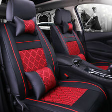 US Universal PU Leather Seat Covers 5 Seats Front+Rear Cushion for Auto Car TOP