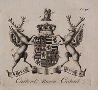 1779 Antiguo Estampado ~Carteret~ Familia Crest Abrigo De Brazos Baron