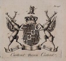1779 ANTIQUE PRINT ~ CARTERET ~ FAMILY CREST COAT OF ARMS BARON