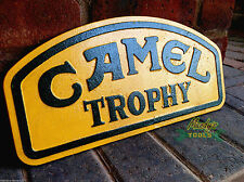 Large Cast Iron Yellow & Green CAMEL TROPHY Sign 4 x 4 Land Rover Jeep YCAML