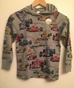 NWT HANNA ANDERSSON Boys Pima Cotton Reversible Pullover Hoodie Race Cars  14-16