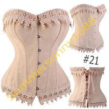 SEXY Cream Lingere Satin Lace up Boned Corset top Bustier Shaper Costume SZ 2XL