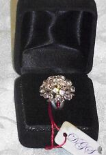 Estate Find Vintage DGS Turkey Artisan Crafted Cluster Ring w CZ Stones