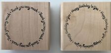 2 Rubber Stamps Thank You Very Much & Happy Birthday to You Circular Text 2-3/8""