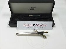 montblanc noblesse silver plated 1980's vintage fountain pen + box 18K EF NIB