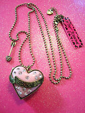 Betsey Johnson Crystal Pink Heart Locket Necklace