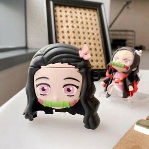 Demon Slayer Nezuko Airpods Pro Case Cover Protective Cover Silicone With Hook