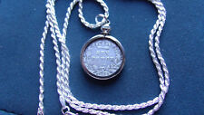"""1894 UK Victoria Silver Sixpence Pendant on a 24"""" 925 Italy Silver Rope Chain"""