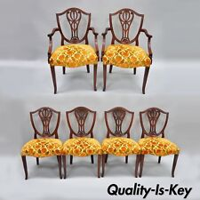 Drexel Wallace Nutting Solid Mahogany Shield Back Dining Room Chairs Set of 6