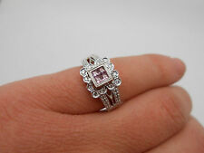 Stunning Princess Cut Natural Pink Sapphire & Diamond 18k White Gold Ring Sz 7