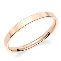 Solid 10K Rose Pink Gold 2mm Comfort Fit Men Women Flat Wedding Band Ring