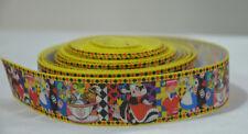 """Alice in Wonderland Ribbon 1 Metre 22mm 7/8"""" Craft Cake Party Gift Wrap Hair"""