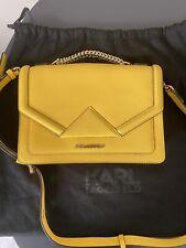 Karl Lagerfeld K/Klassik yellow leather shoulder handbag NEW w tags lemon