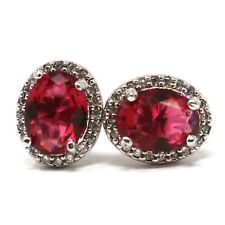 Sparkling Red Ruby Women Engagement Earrings 14K White Gold Plated Jewelry Gift