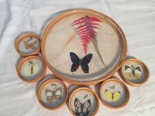 Vintage Bamboo & glass real Pressed butterflies serving tray - 6 coasters.