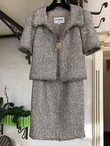 Authentic Chanel Resort 2018 tweed metallic suit jacket/skirt size fr 34/ US 2/X