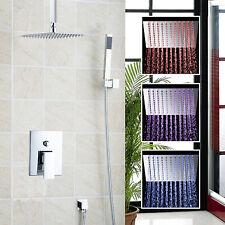 LED Ceiling Mount Bathroom Bath LED Shower Head Arm W/Hand Spray Shower set Tap