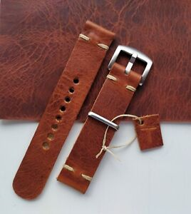 Handmade in England - 20mm Full Grain Italian Brown Leather Watch Strap