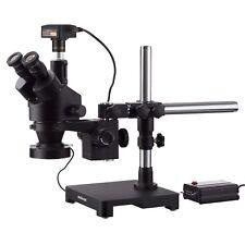 AmScope 7X-90X Trinocular Boom Stereo Zoom Microscope + 3MP Camera + LED Light