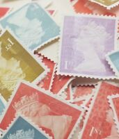 100 1st Class Stamps Unfranked No Gum Off Paper Mix colours More of the Red