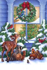 The Magic Of X-mas Fabric Panel Snowy Night Birds Bunnies Fawn Wreath Tree
