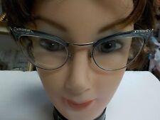 Vintage S/C Green Aluminum CAT EYE Glasses Frame Rhinestones 1/10 12 KGF & Case