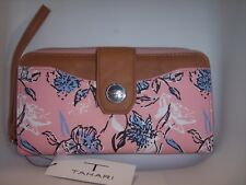 TAHARI  Clutch Wallet, Floral Print, Pink/Blue, Identity Protect Lining
