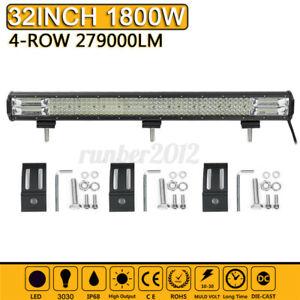 "32"" Inch Quad-row LED Work Light Bar Spot Flood Truck Offroad Driving Fog  Q"