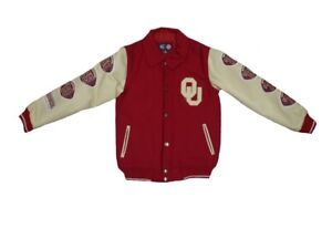 Oklahoma Sooners Youth Varsity Letterman Leather Jacket
