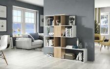 Large Oak Effect White Gloss Zig Zag Bookcase Room Divider Shelf Shelving 2896