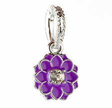 European Silver purple Lotus Paint Dangle Pendant Bead Fit European Charm A#87