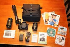 CANON Rebel EOS T1i Camera 18-55 and 55-250 Zoom Lenses Case Battery Bundle Lot