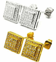 Gold Silver Ear Studs Earrings Crystal Ice Out Bling Square C017