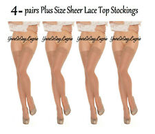 """✔️4-pair PLUS SIZE Sheer LACE TOP THIGH HIGH Stockings 😍Top stretches to 29"""""""