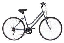 "Professional Premium Womens 700c Wheel Hybrid City Bike 6 Speed Grey 18"" Frame"